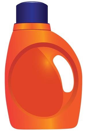 Envase de plástico para productos químicos domésticos. Ilustración del vector.