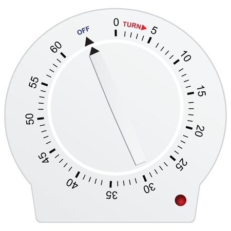 turn dial: Timer for sixty seconds - kitchen equipment. Vector illustration.