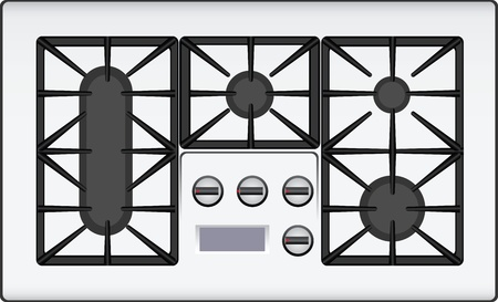 tiled stove: Gas cooker with double hob. Vector illustration.