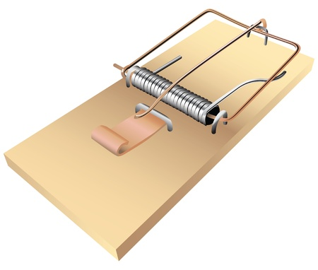 tempt: The standard mousetrap to kill small rodents. Vector illustration.
