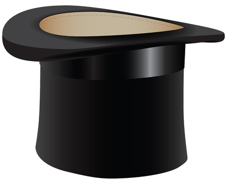 Black old hat - the cylinder. Vector illustration.