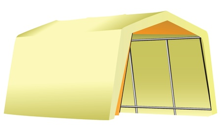penthouse: Mobile Garage fabric - tent on a metal structure. Vector illustration.