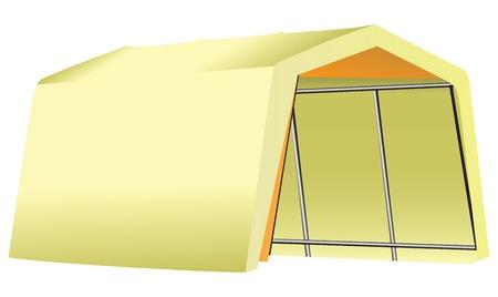 Tela Garage Mobile - tienda de campaña en una estructura de metal. Ilustración del vector. Foto de archivo - 21773791