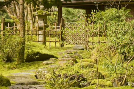 characteristic: Japanese garden with decorative elements characteristic of Japanese style. Stock Photo