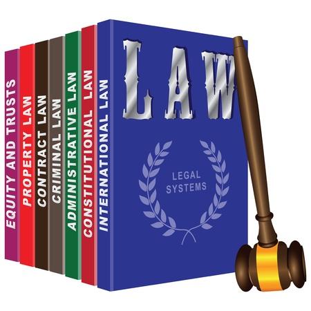 Set van boeken over recht en rechterlijke hamer.