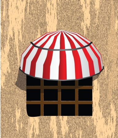 Window with awning over it old wall. Stock Vector - 21929377