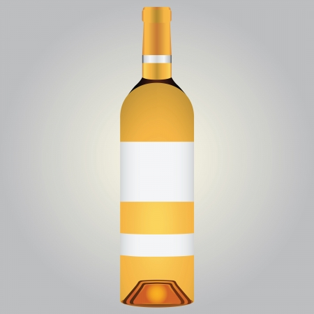 Bottle of white wine with a label.