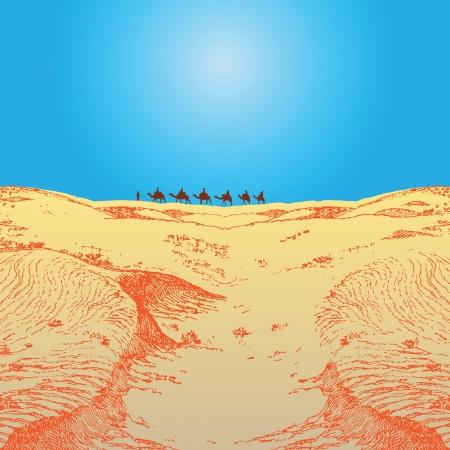 A caravan of camels in the desert.