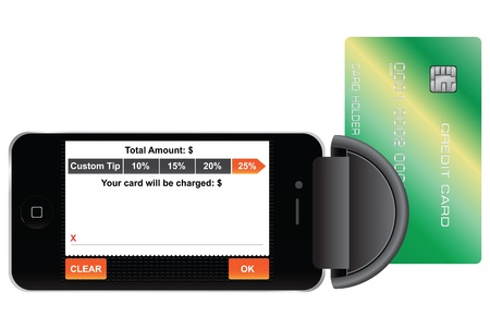 Gadget for reading credit cards using a mobile phone.