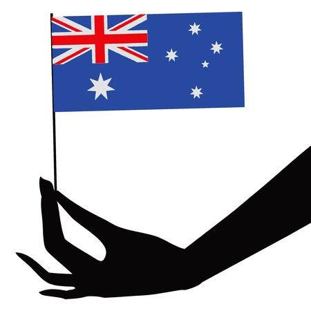 그의 손에 호주 국기입니다. 벡터 일러스트 레이 션. 스톡 콘텐츠 - 22019594