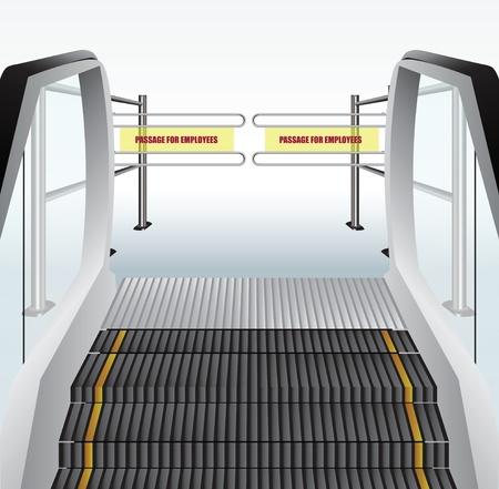 Escalator to the turnstile to skip the employees on the floor. Vector illustration.