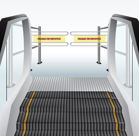 Escalator to the turnstile to skip the employees on the floor. Vector illustration.