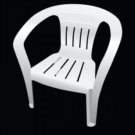 プラスチック製の背もたれ付きの古典的な椅子。ベクトル。