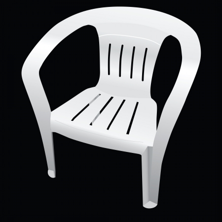 patio furniture: Classic chair with a backrest made ​​of plastic. Vector. Illustration