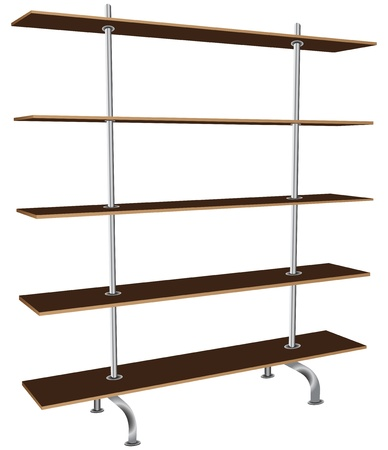 market place: Modern bookcase with five shelves. Vector illustration.