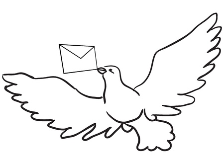 marrying: Flying dove with a letter. Vector illustration.