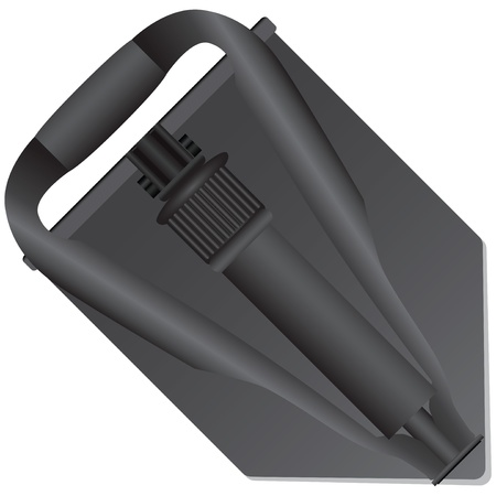unearth: Folded compact army shovel in the stowed position. Vector illustration. Illustration