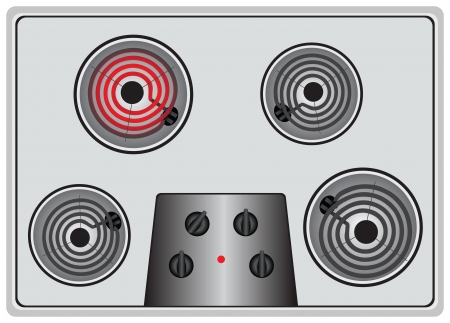 sizzle: Household Electric stove four elements, one heater is turned on. Vector illustration.