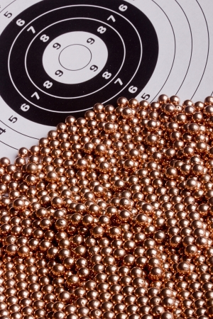 airgun: Copper bullet shooting guns used with air or gas. Stock Photo
