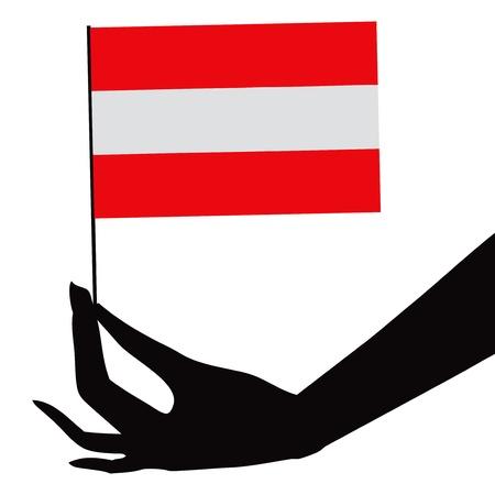 彼の手でオーストリアの国旗。ベクトル イラスト。  イラスト・ベクター素材