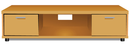 Wooden shelf for the TV. Vector illustration.