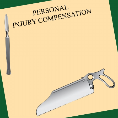 compensate: Personal injury compensation related to surgical error. Vector illustration.