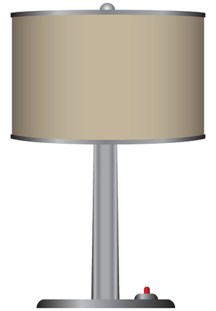 Decorative table lamp with shade. Vector illustration.