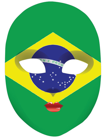 Classic mask with symbols of statehood of Brazil. Vector illustration