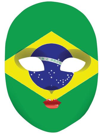 statehood: Classic mask with symbols of statehood of Brazil. Vector illustration