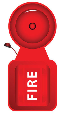 disaster prevention: Sound the fire alarm in the form of a bell. Vector illustration.