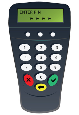 Commercial equipment for PIN code client. Vector illustration. Vector