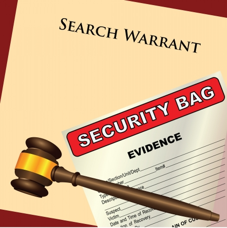 warrant: A search warrant with a plastic bag for evidence. Vector illustration.