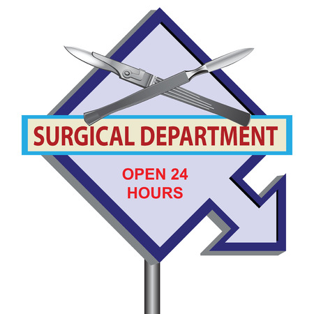 amputation: Banner Surgical Department with time work. Vector illustration.