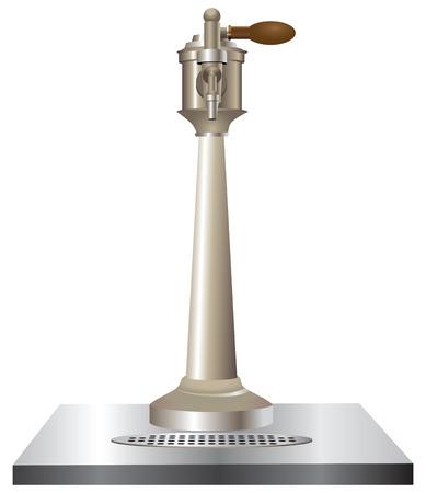 Beer tap used in bars.   Illustration
