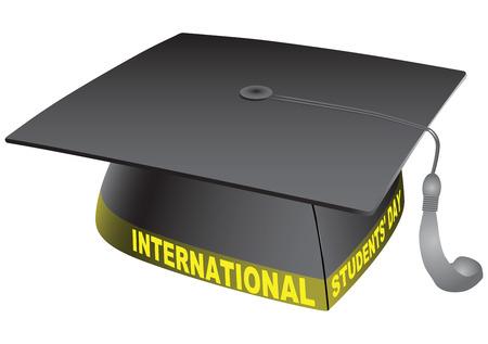 international students: Student classic hat with the words International Students Day.  Illustration