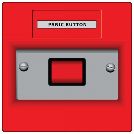 pause button: Panic button in case of a disaster involving the buzzer. Vector illustration.