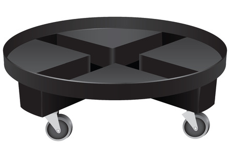 substitute: Round planter caddy on wheels made of plastic. Vector illustration.