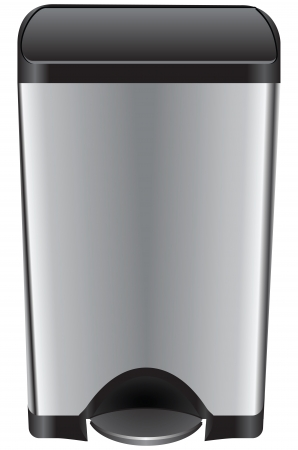 Trash can with a pedal to lift the lid. Vector illustration.