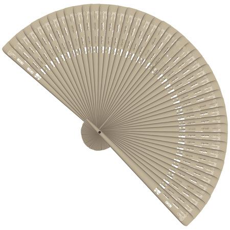 Decorative carved wood fan, feminine accessory. Vector illustration.