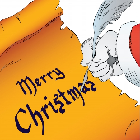 quill pen: Merry Christmas written on parchment with a quill pen. Vector drawing hand.