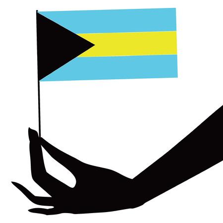 Bahamas flag in his hand. Vector illustration.