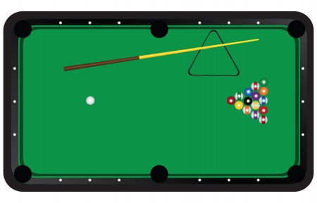 Start a game of American billiards.. Vector illustration. Vector