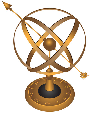 Metal spherical astrolabe used for basic navigation via the stars and sun. Vector illustration. Vector