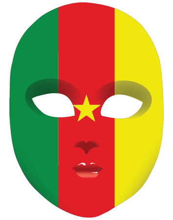 statehood: Classic mask with symbols of statehood of Cameroon. Vector illustration