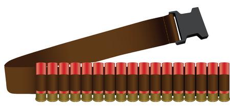 Shotgun Shell collected bandolier on the belt. Vector illustration.