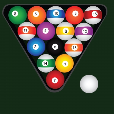 A set of billiard balls. Vector illustration.