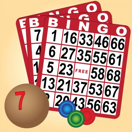 Set to play bingo with cards and chips with a wooden ball. Vector illustration. Illusztráció