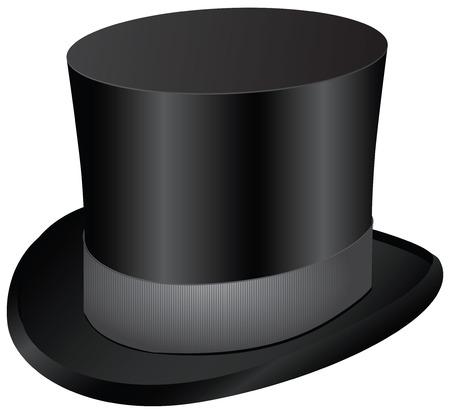 Vintage men's dress - black top hat. Vector illustration.