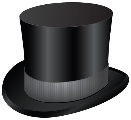 Vintage mens dress - black top hat. Vector illustration. Çizim