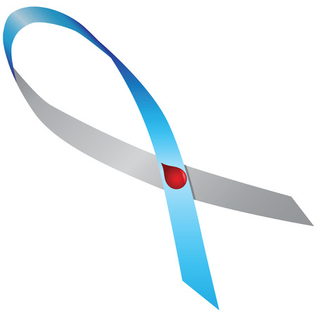 type 1 diabetes: Gray-blue ribbon with a red dot in the form of a drop of blood - Type 1 diabetes. Vector illustration.